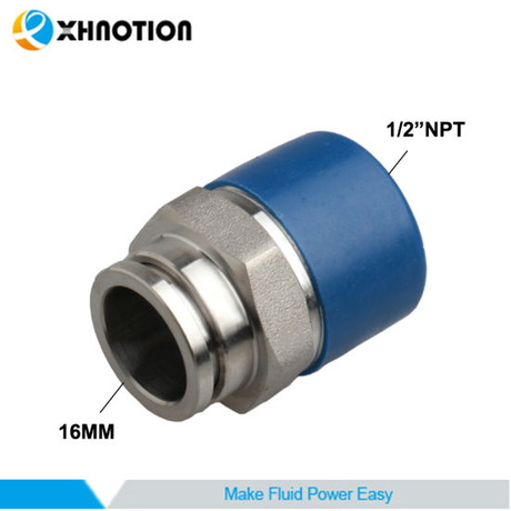 "Stainless Steel Push-to-Connect Fitting Quick Connector 16mm X 1/2""NPT Adapter"