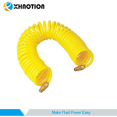 Spiral Tubing PU Hose with Brass Swivel Fittings