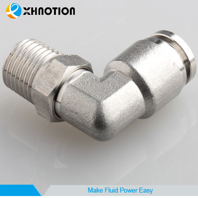 Xhnotion Metal Swivel Fitting Push in Fitting Male Elbow 90 Degree Elbow Fitting